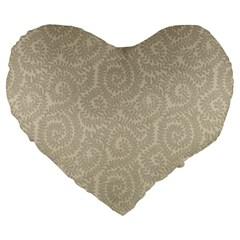 Leaf Grey Frame Large 19  Premium Heart Shape Cushions by Alisyart
