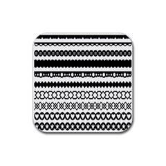 Love Heart Triangle Circle Black White Rubber Square Coaster (4 Pack)  by Alisyart