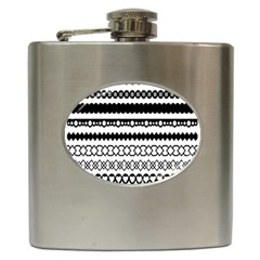 Love Heart Triangle Circle Black White Hip Flask (6 Oz) by Alisyart