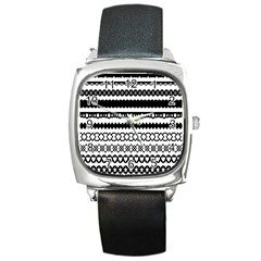 Love Heart Triangle Circle Black White Square Metal Watch by Alisyart