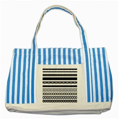 Love Heart Triangle Circle Black White Striped Blue Tote Bag by Alisyart