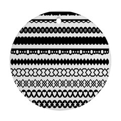Love Heart Triangle Circle Black White Round Ornament (two Sides) by Alisyart