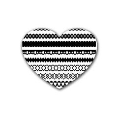 Love Heart Triangle Circle Black White Rubber Coaster (heart)  by Alisyart