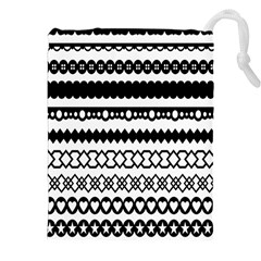 Love Heart Triangle Circle Black White Drawstring Pouches (xxl) by Alisyart