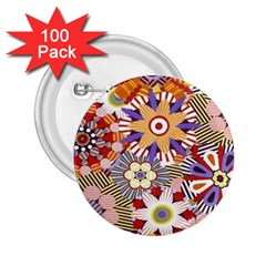 Flower Floral Sunflower Rainbow Frame 2 25  Buttons (100 Pack)  by Alisyart