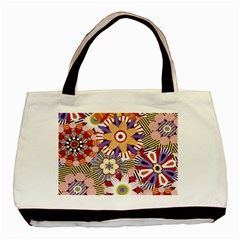 Flower Floral Sunflower Rainbow Frame Basic Tote Bag by Alisyart