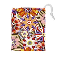 Flower Floral Sunflower Rainbow Frame Drawstring Pouches (extra Large) by Alisyart