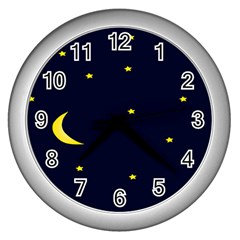 Moon Dark Night Blue Sky Full Stars Light Yellow Wall Clocks (silver)  by Alisyart