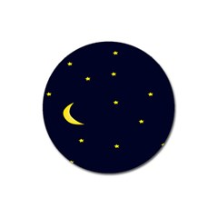 Moon Dark Night Blue Sky Full Stars Light Yellow Magnet 3  (round) by Alisyart