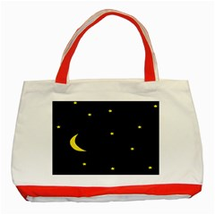 Moon Dark Night Blue Sky Full Stars Light Yellow Classic Tote Bag (red)