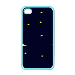 Moon Dark Night Blue Sky Full Stars Light Yellow Apple Iphone 4 Case (color) by Alisyart