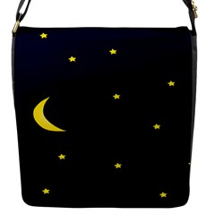 Moon Dark Night Blue Sky Full Stars Light Yellow Flap Messenger Bag (s) by Alisyart