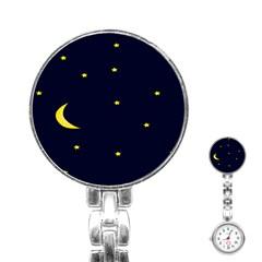 Moon Dark Night Blue Sky Full Stars Light Yellow Stainless Steel Nurses Watch by Alisyart