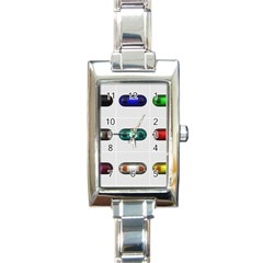 9 Power Button Rectangle Italian Charm Watch by Simbadda
