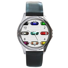 9 Power Button Round Metal Watch by Simbadda