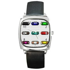 9 Power Button Square Metal Watch by Simbadda