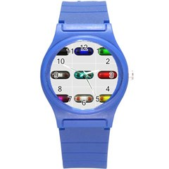9 Power Button Round Plastic Sport Watch (s) by Simbadda