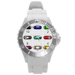9 Power Button Round Plastic Sport Watch (l) by Simbadda