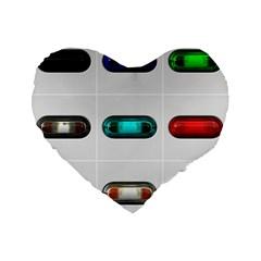 9 Power Button Standard 16  Premium Flano Heart Shape Cushions by Simbadda