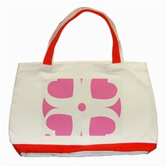 Love Heart Valentine Pink White Sweet Classic Tote Bag (red) by Alisyart