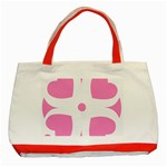 Love Heart Valentine Pink White Sweet Classic Tote Bag (Red) Front