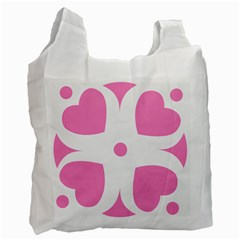 Love Heart Valentine Pink White Sweet Recycle Bag (one Side) by Alisyart
