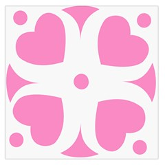 Love Heart Valentine Pink White Sweet Large Satin Scarf (square) by Alisyart