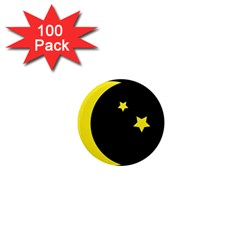 Moon Star Light Black Night Yellow 1  Mini Magnets (100 Pack)  by Alisyart