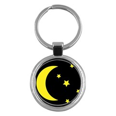 Moon Star Light Black Night Yellow Key Chains (round)  by Alisyart