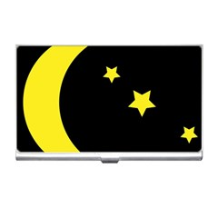 Moon Star Light Black Night Yellow Business Card Holders by Alisyart