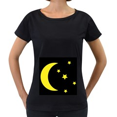Moon Star Light Black Night Yellow Women s Loose-Fit T-Shirt (Black) by Alisyart