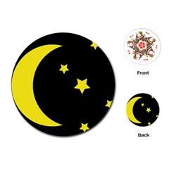 Moon Star Light Black Night Yellow Playing Cards (round)  by Alisyart