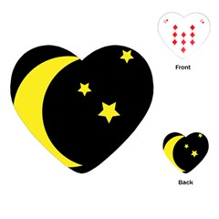 Moon Star Light Black Night Yellow Playing Cards (heart)