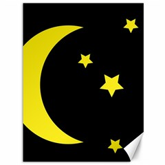 Moon Star Light Black Night Yellow Canvas 36  X 48   by Alisyart