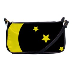 Moon Star Light Black Night Yellow Shoulder Clutch Bags by Alisyart