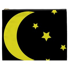 Moon Star Light Black Night Yellow Cosmetic Bag (xxxl)  by Alisyart