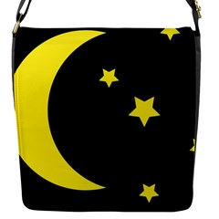 Moon Star Light Black Night Yellow Flap Messenger Bag (s) by Alisyart