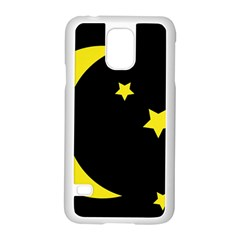 Moon Star Light Black Night Yellow Samsung Galaxy S5 Case (white) by Alisyart
