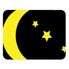 Moon Star Light Black Night Yellow Double Sided Flano Blanket (large)  by Alisyart