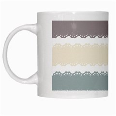 Muted Lace Ribbon Original Grey Purple Pink Wave White Mugs by Alisyart