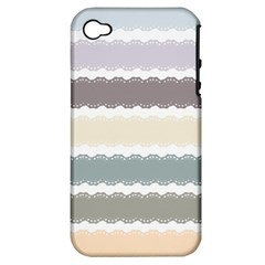 Muted Lace Ribbon Original Grey Purple Pink Wave Apple Iphone 4/4s Hardshell Case (pc+silicone) by Alisyart