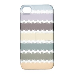 Muted Lace Ribbon Original Grey Purple Pink Wave Apple Iphone 4/4s Hardshell Case With Stand by Alisyart