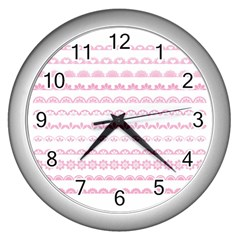 Pink Lace Borders Pink Floral Flower Love Heart Wall Clocks (silver)  by Alisyart