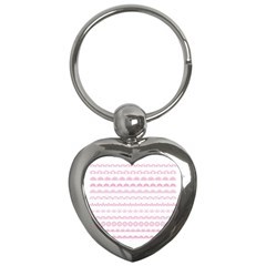 Pink Lace Borders Pink Floral Flower Love Heart Key Chains (heart)  by Alisyart