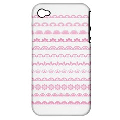 Pink Lace Borders Pink Floral Flower Love Heart Apple Iphone 4/4s Hardshell Case (pc+silicone) by Alisyart
