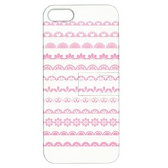 Pink Lace Borders Pink Floral Flower Love Heart Apple Iphone 5 Hardshell Case With Stand by Alisyart