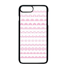 Pink Lace Borders Pink Floral Flower Love Heart Apple Iphone 7 Plus Seamless Case (black) by Alisyart
