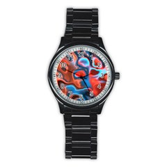 Abstract Fractal Stainless Steel Round Watch by Simbadda