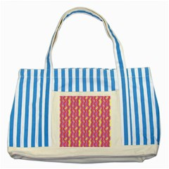 Pink Yelllow Line Light Purple Vertical Striped Blue Tote Bag by Alisyart