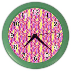 Pink Yelllow Line Light Purple Vertical Color Wall Clocks by Alisyart